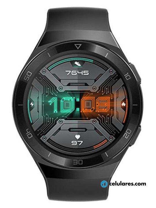 Fotografía grande Varias vistas del Huawei Watch GT 2e Blanco y Grafito y Rojo y Verde. En la pantalla se muestra Varias vistas