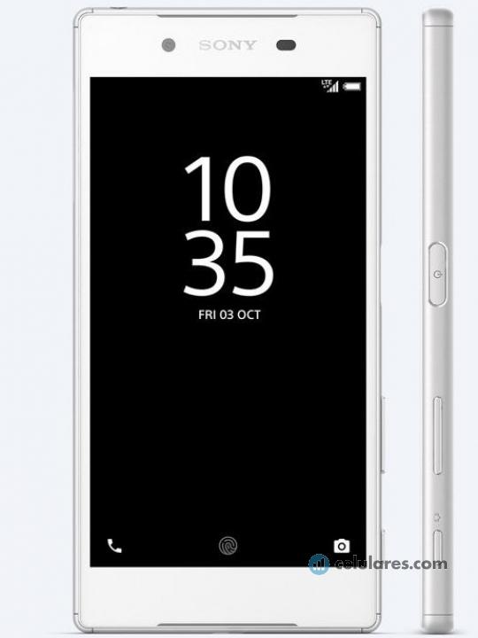 Fotografía grande Varias vistas del Sony Xperia Z5 Blanco y Dorado y Grafito y Verde. En la pantalla se muestra Varias vistas