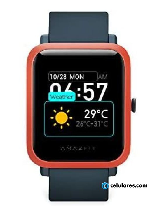 Fotografía grande Varias vistas del Xiaomi Amazfit Bip S Blanco y Naranja y Negro. En la pantalla se muestra Varias vistas